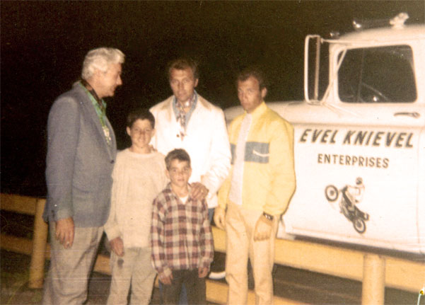 Evel Knievel and Jeff and Lee Grismer