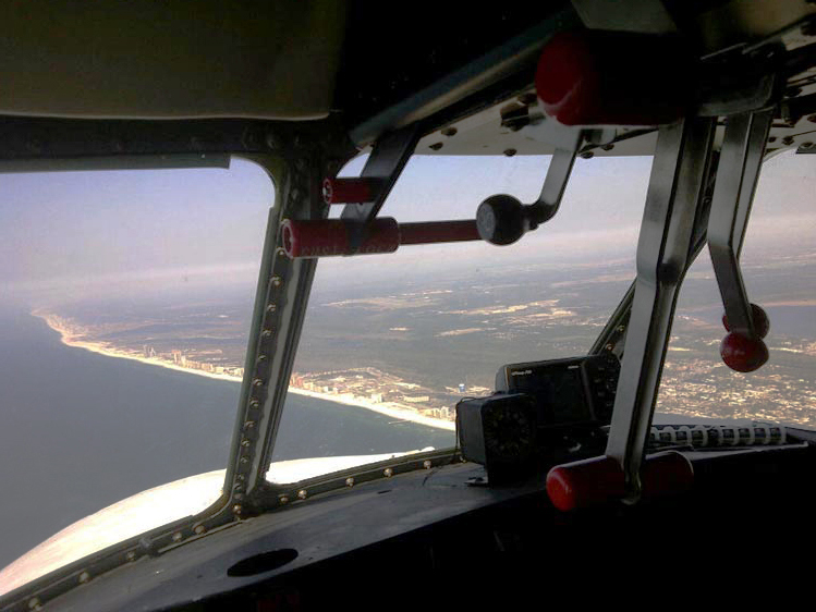 Cockpit view of Pensacola.